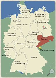 Location of Markneukirchen/Saxony in Germany